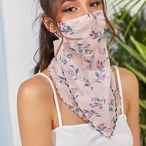Accessories - 🎉JUST IN! Purple Flowers Pink Scarf Face Mask